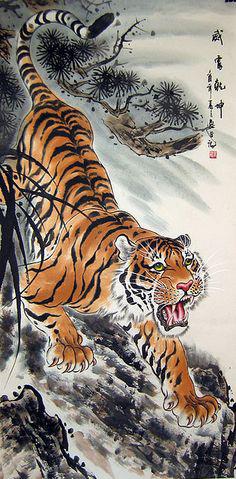 Как-то идя по полю, человек встретился с тигром. Он побежал, тигр - за ним